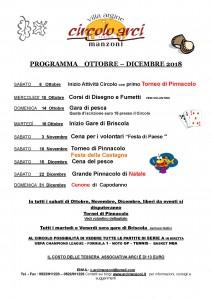 Programma Ottobre- Dicembre 2018
